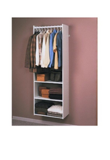 Easy track Closet system tower closet organizer shelf/ rod kit. White in Fort Rucker, Alabama