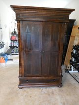 "NEW PRICE!!!!!  TALL TV Armoire/Storage Cabinet - Brown Wood Finish - 80"" Tall/54"" Wide/30"" Deep in Sugar Grove, Illinois"