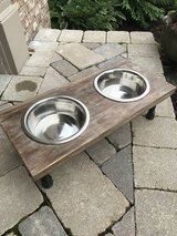 Rustic wood elevated dog bowl in Plainfield, Illinois