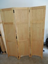 "3 Blond-Wood Room Dividers - 6 ft tall. Each has 3-18"" folding pieces- over 13 feet in total in Oswego, Illinois"