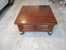 Coffee Table - 38 inches square, 19 inches high - brown wood with droop down drawer in Yorkville, Illinois