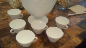 Milk glass punch bowl set in Fort Benning, Georgia