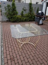 Dining Table (Beveled Glass/Wrought Iron) Barbecue Grill comes with Canvas Cover in Ramstein, Germany