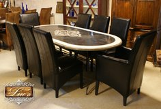 Dining set:marble table and 8 leather chairs in Ramstein, Germany