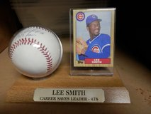 Chicago Cub Lee Smith Autographed Baseball with Topps Card in Chicago, Illinois
