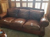Brown leather couch in New Lenox, Illinois