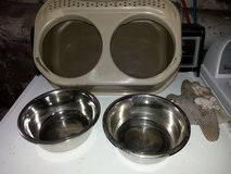 Double Dish Pet Feeding Dish and Water Dish with Overyflow Tray in Lancaster, Pennsylvania