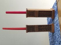 Wooden candle holders in Oswego, Illinois