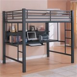 Full size Loft Bunk Metal Bed with Workstation. Reduced! in Batavia, Illinois