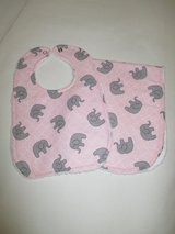 Baby Bib / Burp Cloth Set - Pink with Elephants in Kingwood, Texas