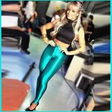 Teal Satin Metallic Bright Neon Zip Up Skin Tight Legging Pencil Pants in Dover, Tennessee