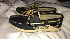 Women's black and leopard print Sperrys in Fort Leonard Wood, Missouri
