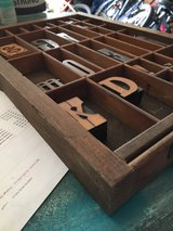 Printers drawer antique Hamilton with stamps in Morris, Illinois
