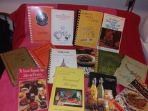 Collection of old cookbooks in Conroe, Texas