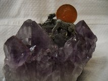 Geode Cut Amethyst Niagara Falls Canada- Moose & Canadian Penny On Top in Lake Elsinore, California