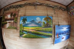 Beautiful hand made paintings and drift wood frame in Okinawa, Japan