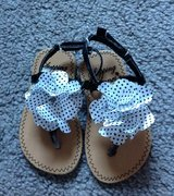Size 5 Black White Flower Dot Sandals Shoes in Fort Campbell, Kentucky