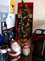Christmas tree, brand new in box; kettle and mugs in Aurora, Illinois