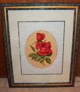 """Beautiful Rose picture with lace framed in green frame.16"""" x 20"""" in Alamogordo, New Mexico"""