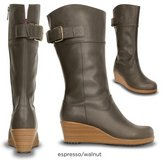 Crocs Boots Espresso A-Leigh Leather W6 in Fort Campbell, Kentucky