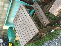 Pallet Picnic table and benches, dark stained in Okinawa, Japan
