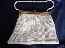 Evening Bag Gold & White Enameled Metal Beadlite fish scale Mesh Bag in Lake Elsinore, California