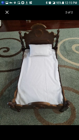 Doll wooden bed with mattress and pillow, absolutely beautiful! in Quantico, Virginia