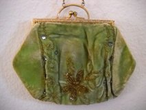 Antique Wrist Bag & Chain Cloth Green Beaded Glass 1870 - 1890 in Lake Elsinore, California