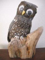 Owl On A Stump Figure-Art Made With Real Feathers Shoe Button Eyes Vintage in Lake Elsinore, California