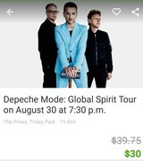 Pair of Depeche Mode tickets Aug 30 in Tinley in Naperville, Illinois