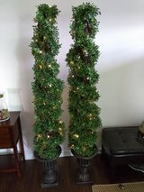 Battery Operated Timer Led Lighted Faux Boxwood Spiral Topiary in Aurora, Illinois