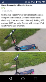 Razor electric scooter in Fort Benning, Georgia