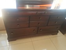 Beautiful solid wood dresser with mirror (used) in Fort Bliss, Texas