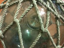 """FF marked JAPANESE GLASS BALL FISHING NET LINE FLOAT   size LARGE 40"""" VINTAGE in Okinawa, Japan"""