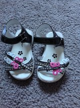 ( Size 5 ) Butterfly Black / White / Pink / Silver Sandals Shoes in Fort Campbell, Kentucky