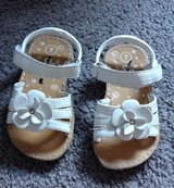 Size 7 White Flower Velcro Sandals Shoes in Fort Campbell, Kentucky