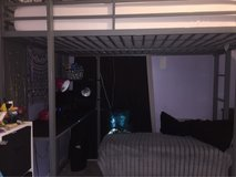 metal full size loft bed with mattress in Clarksville, Tennessee