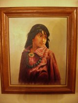 "Navajo Girl Painting Artist J.Roman Fantastic Work 26""X 30"" Vintage in Lake Elsinore, California"