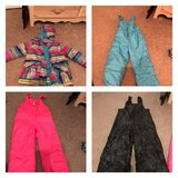 snow suits. black 10/12. blue 5/6. pink 4. jacket 4/5 in Hinesville, Georgia