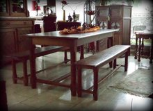 table with 2 benches solid oak dining room set in Baumholder, GE