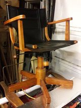 Desk Chair (leather, wood, rollers) in New Lenox, Illinois