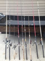 9Rod/Reel combos,7Rods,2more rods with missing tip,deep sea type reels call/txt 478-361-5048 in Macon, Georgia