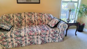 Matching couch and loveseat with matching end tables and coffee table in Shorewood, Illinois