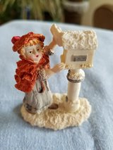 Victorian girl by mailbox in Plainfield, Illinois