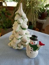 Ceramic Christmas tree and snowman in Plainfield, Illinois