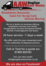 Cash Paid For Scrap Cars & Vehicle Breakdown Recovery in Lakenheath, UK