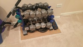Hand weights and Barbell weight plates plus weight holder (Located in N. Plainfield) in Bolingbrook, Illinois