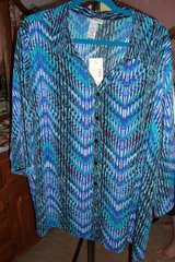 Green, blue & Black Blouse  sz 3X NWT in Naperville, Illinois