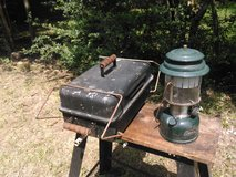 Coleman Lantern, Propane camping bbq grill, and work table in The Woodlands, Texas