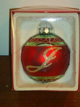 "NIB ""J"" ornament 4in. in St. Charles, Illinois"